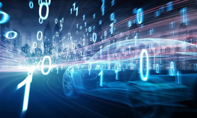 Car driving with binary code surrounding it