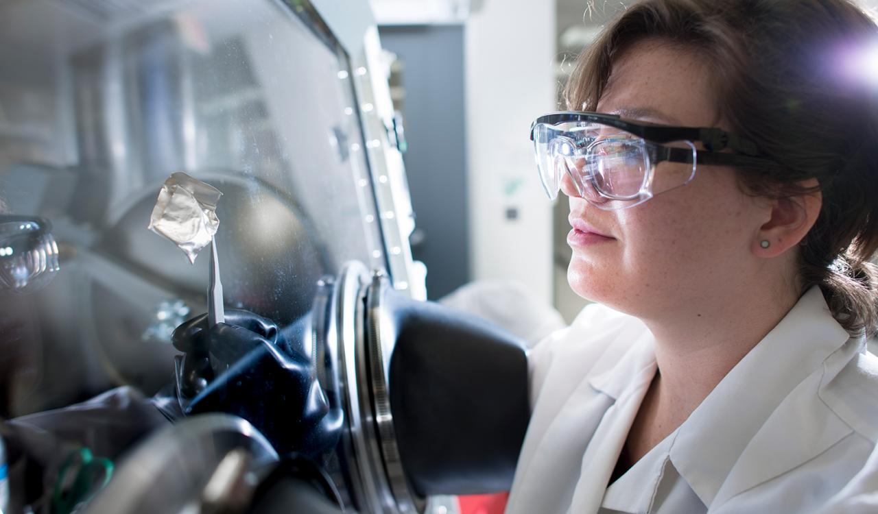 Woman working in nanotech lab