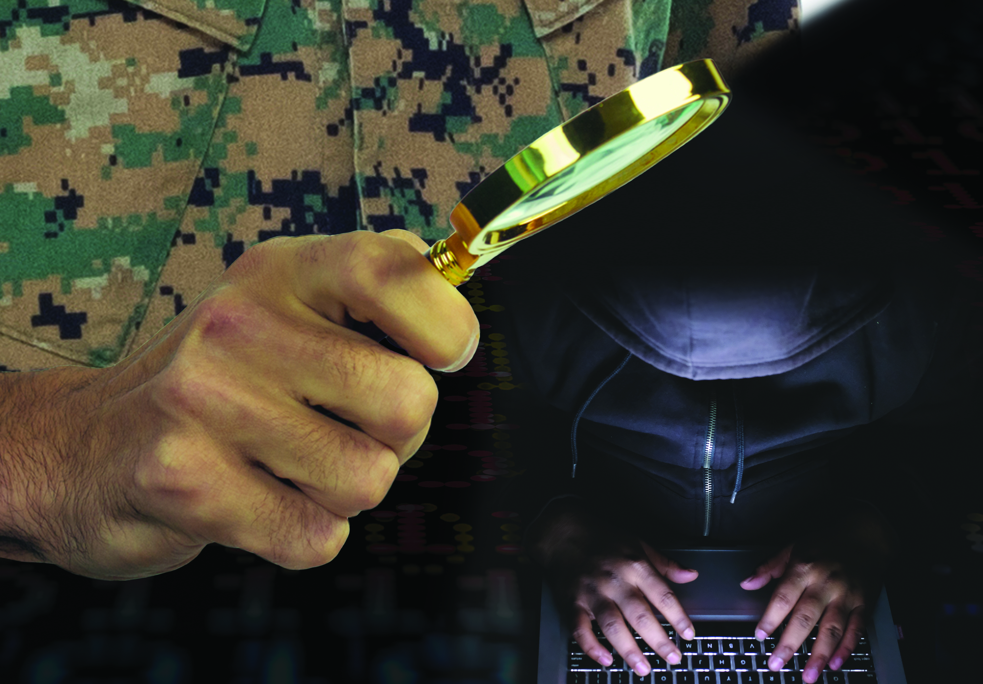 Person in uniform with magnifying glass and adversary with a laptop