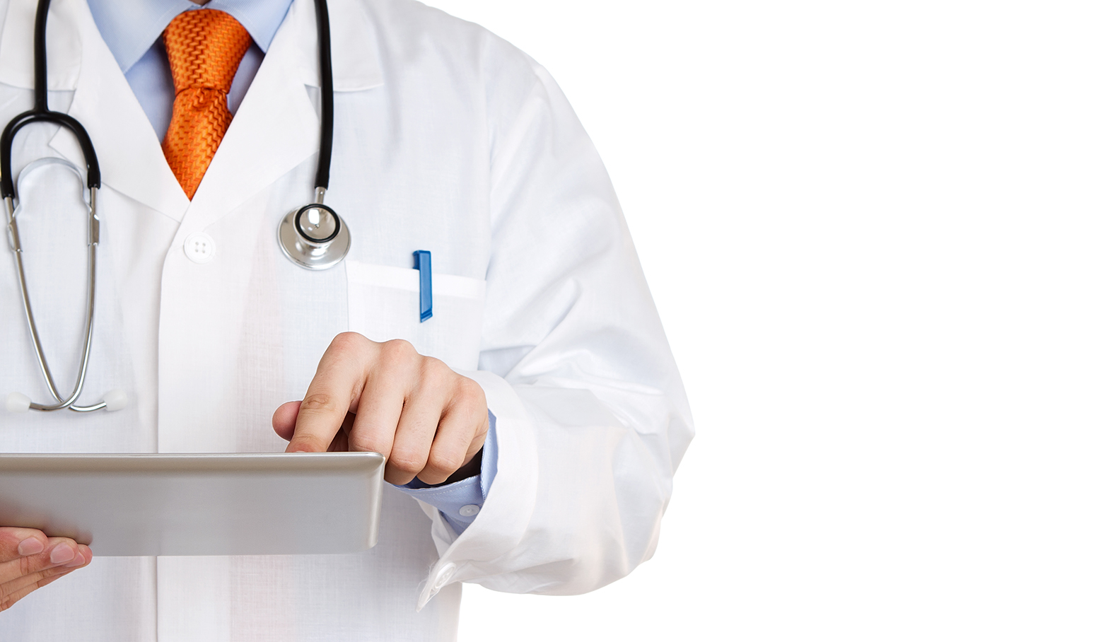 Doctor working on tablet.