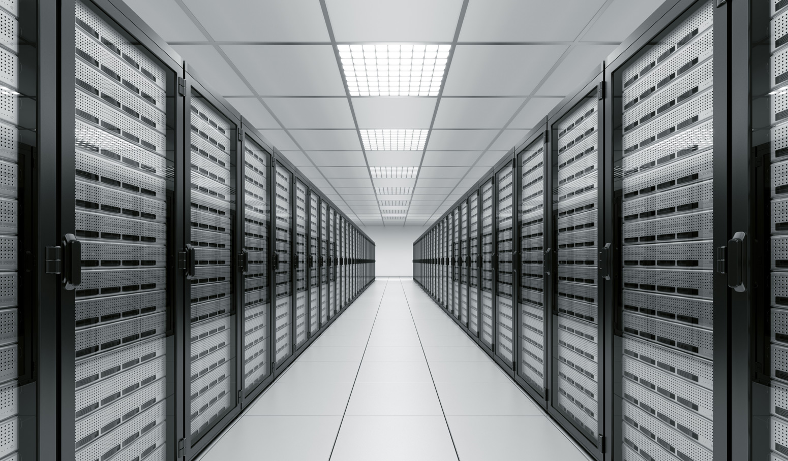 stacks of computer equipment in data center