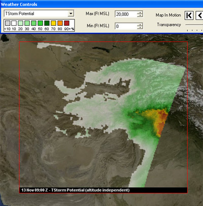 Weather forecast overlay shows a thunderstorm potential over  Afghanistan. The legend at the top shows the potential, or probability, of a thunderstorm; timestamp of the thunderstorm overlay is shown at the bottom.