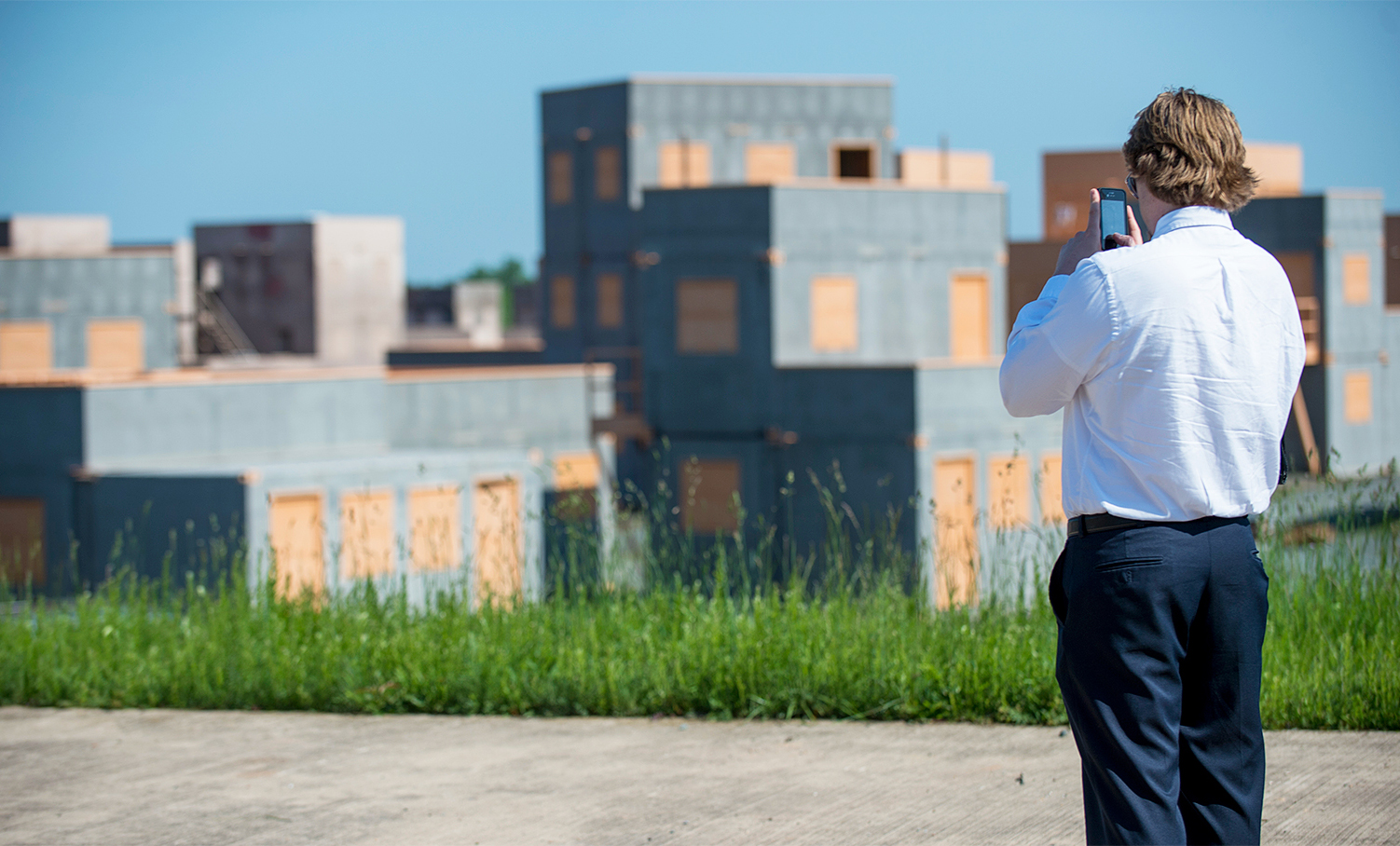 Man taking photo at the Marine Corps Base in Quantico.