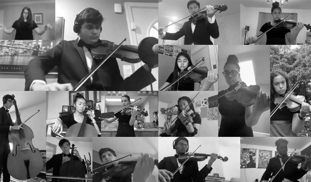 Hayfield Secondary School senior orchestra members performing together virtually