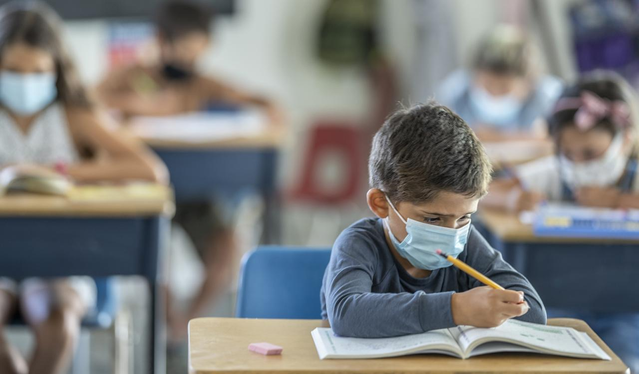 School kid in a mask at his desk.