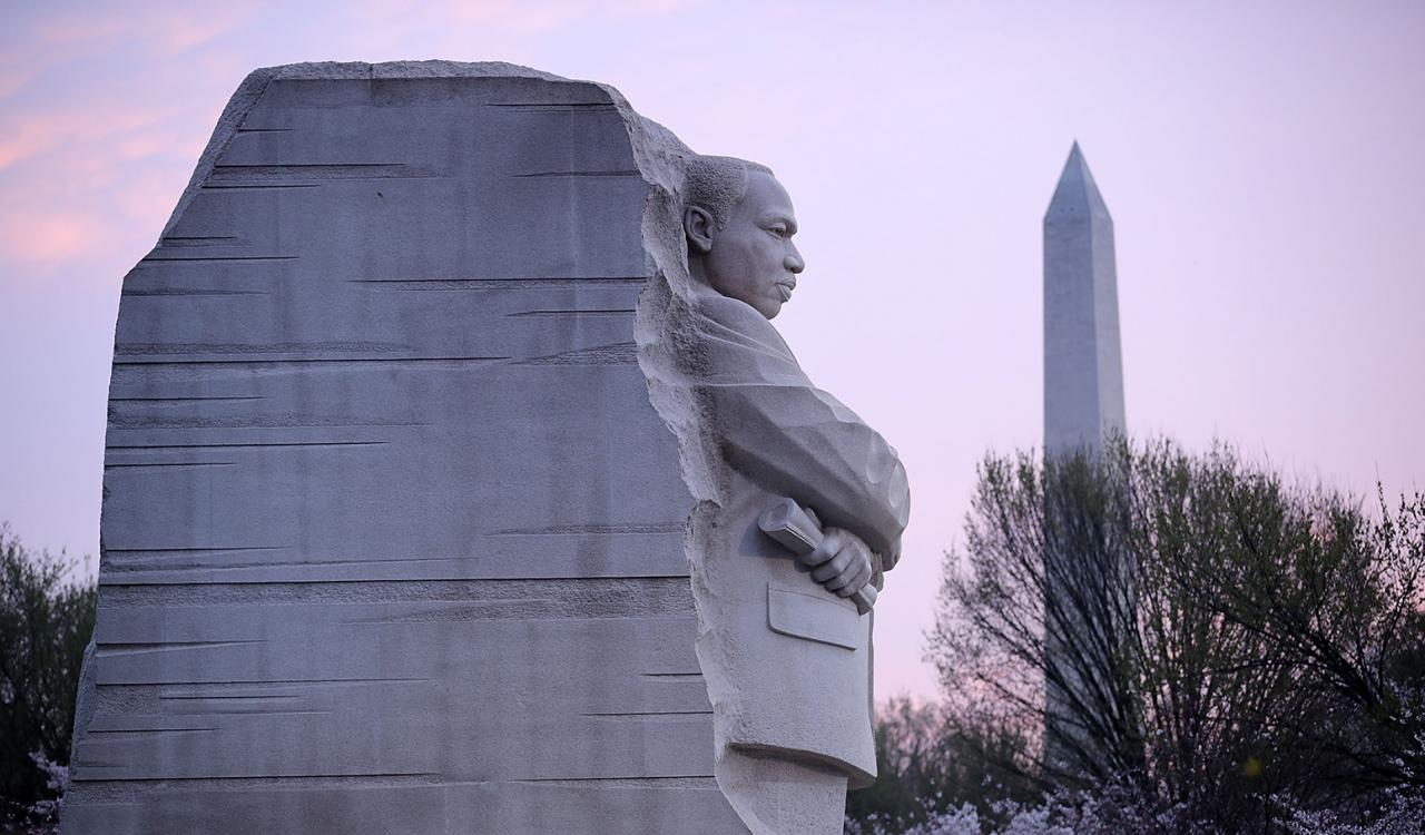 Martin Luther King Memorial with Washington Monument in the background.