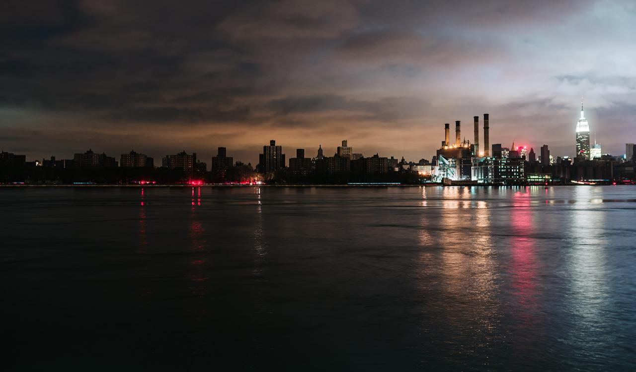 New York City skyline blacked out after Super Storm Sandy.