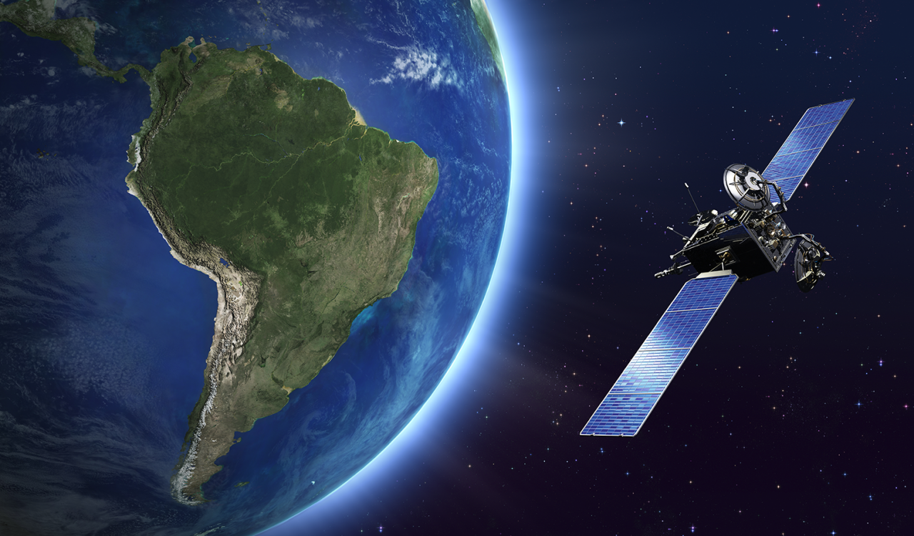 Satellite orbiting the earth over South America.