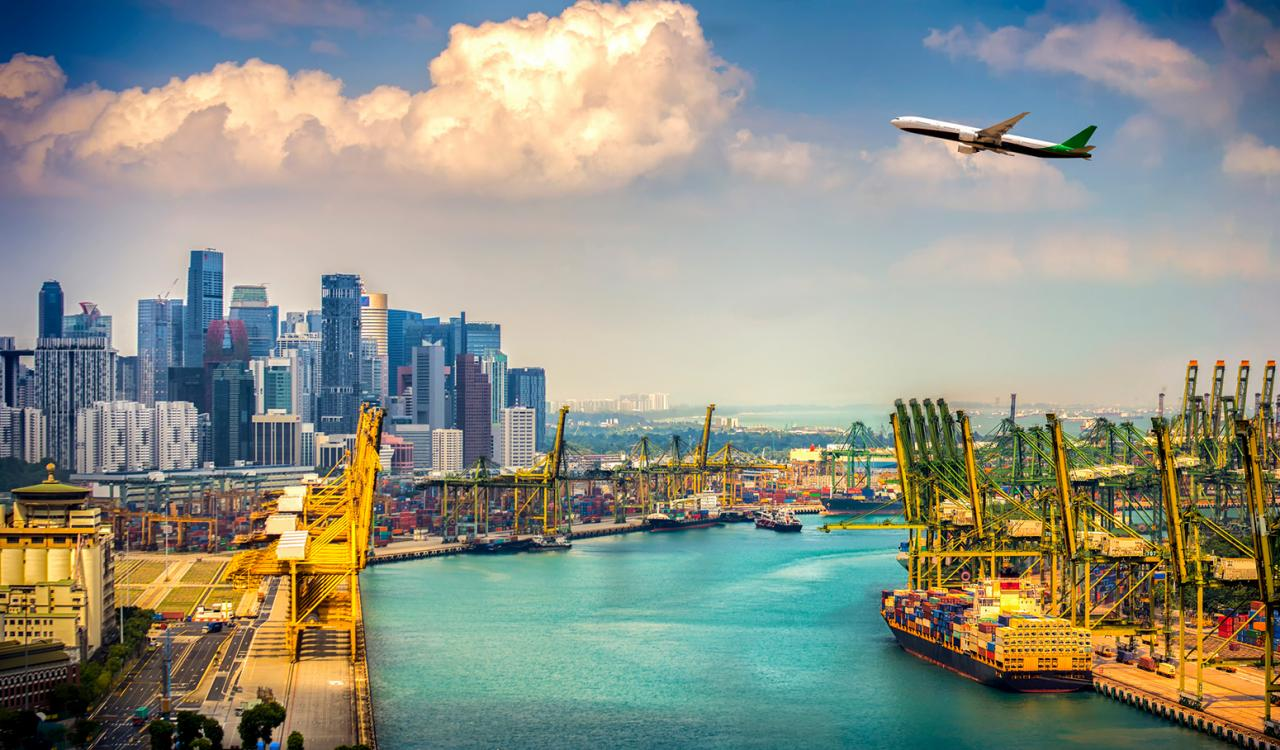 Aerial view of Singapore shipping port