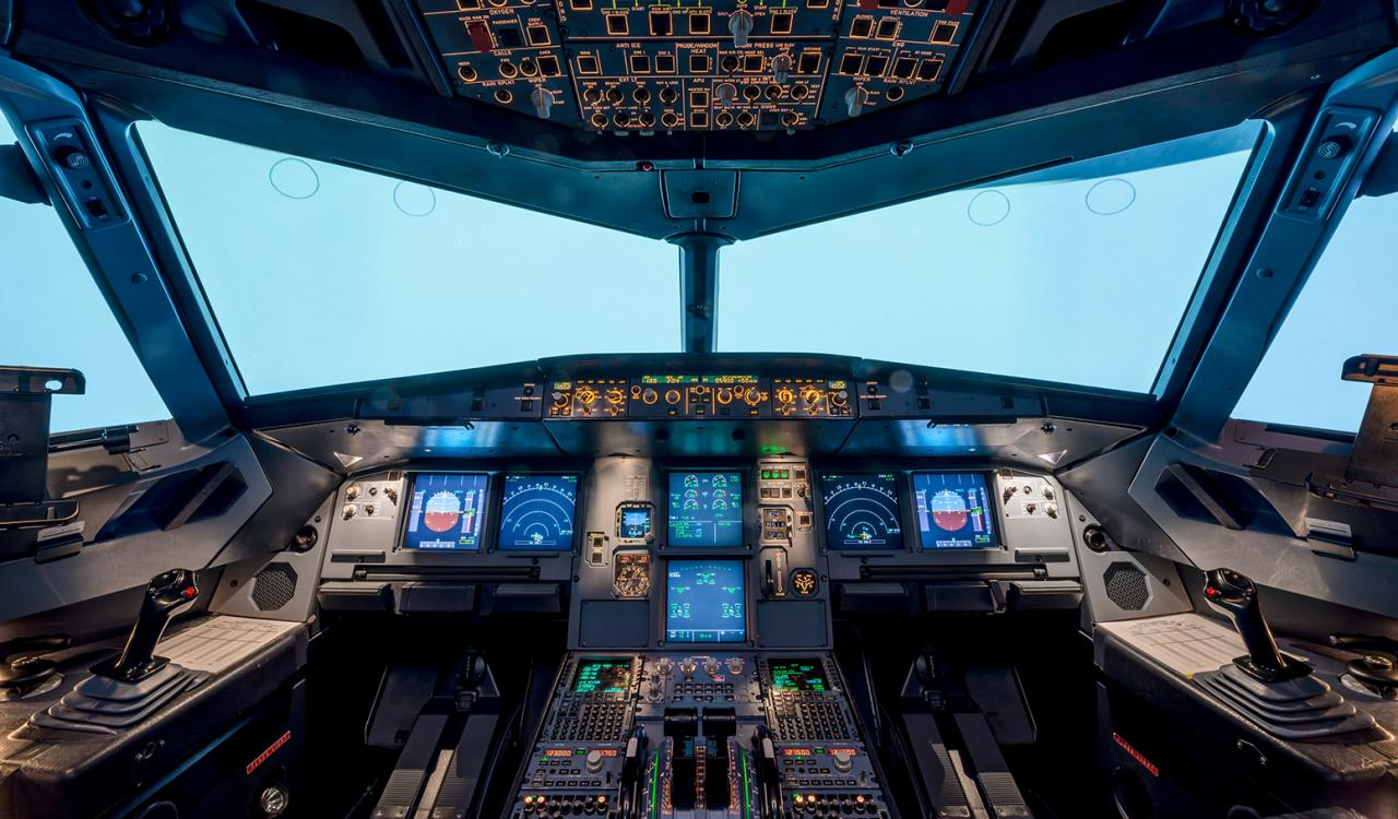 View inside a planes cockpit