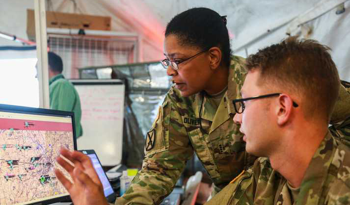 U.S. Army soldiers participating in Cyber Quest 2018