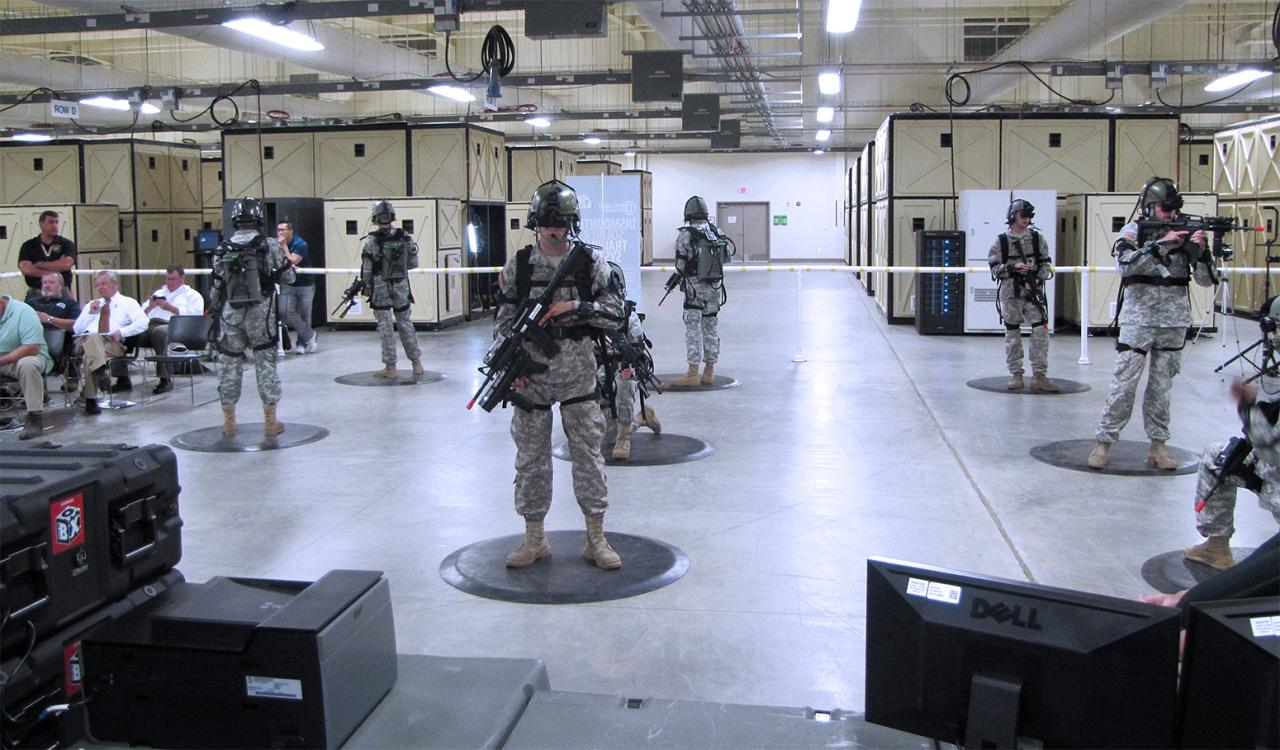 Soldiers use virtual reality technology in demonstrating how gradual stress exposure can potentially discourage post traumatic stress.