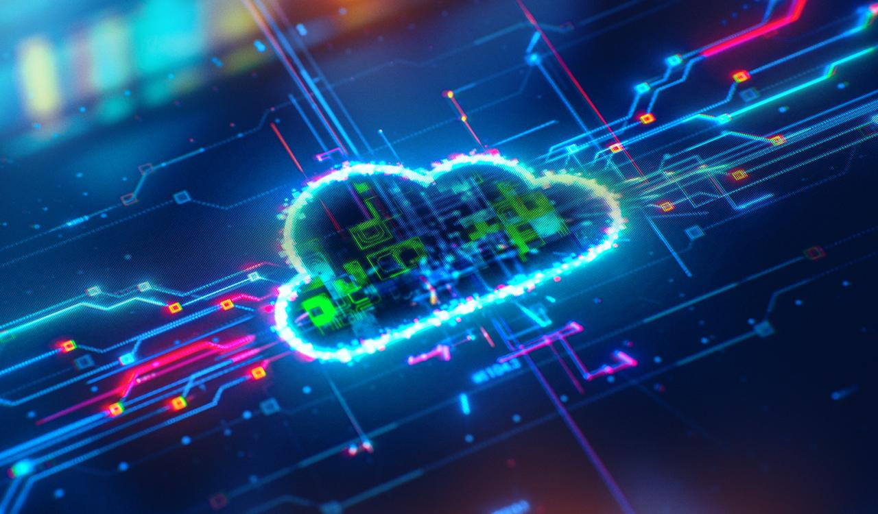 Graphic showing a neon image of a cloud.