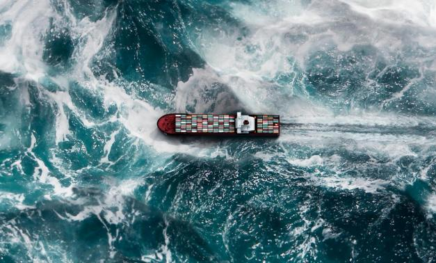 Container ship on choppy seas