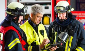 emergency responders using a mobile device