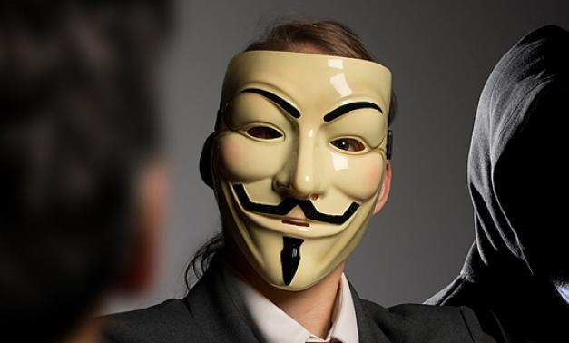Guy Fawkes mask on person