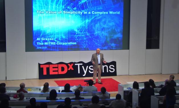 MITRE President and CEO Alfred Grasso speaking at TEDx Tysons.