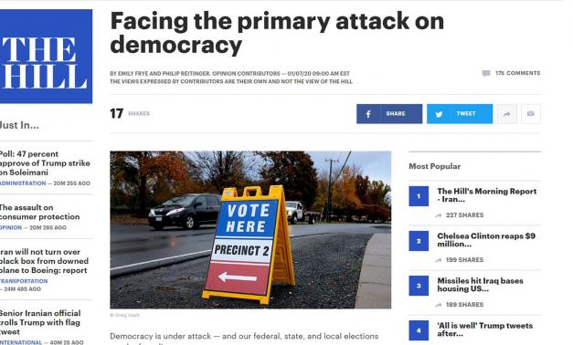 Screen shot from The Hill of MITRE op-ed on election security.