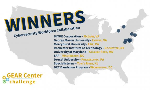 Graphic of a U.S. map with the word WINNERS and list of GEAR Center recipients.