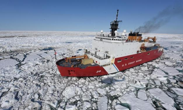 U.S. Coast Guard ship in icy waters