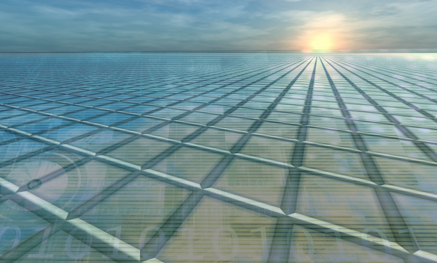 Grid with sunset in background
