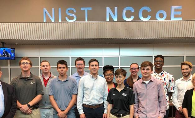 Group of interns at NCCoE building.