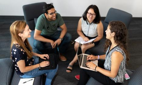 MITRE interns Heather Halter, Priyank Madria, Vanessa Li, and Andrea Benson