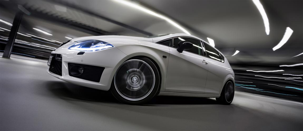 Sports car with motion blur