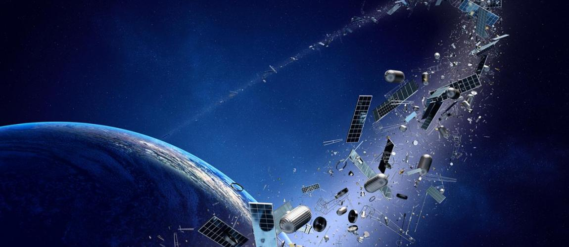 Space junk orbiting around the Earth